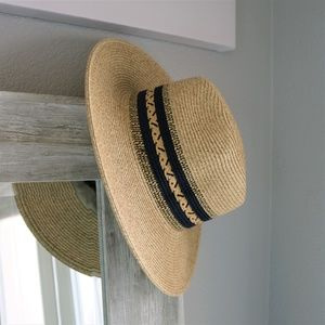 734416eb40c Accessories - Straw Panama Hat with Navy Band